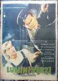 Afis film sovietic Lumini verzi , editat dupa un desen color din 1957 , Romania