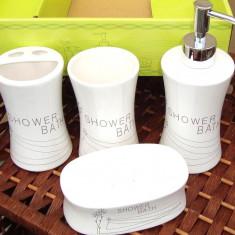 Set baie portelan cu suport sapun, dozator, pahare apa si peruta, model Shower - Set mobilier baie