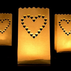 Lampioane decorative - inimioare, 10buc / set