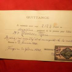 Chitanta de plata Pension in Bucuresti 1900,Timbru Fiscal 10 Bani ,cifra 10 departata de B