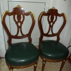 2 superbe scaune stil Empire cu tapiserie din piele si elemente bronz