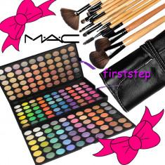Trusa machiaj Mac Cosmetics profesionala 180 culori MAC + set 15 pensule machiaj make up Bobbi Brown par natural + fond de ten + trusa blush
