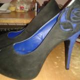 Pantofi - Pantof dama, Culoare: Albastru, Marime: 40, Albastru, Cu toc