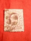Timbru 6 Pence violet 1902 ,Eduard VII ,Anglia , stamp.