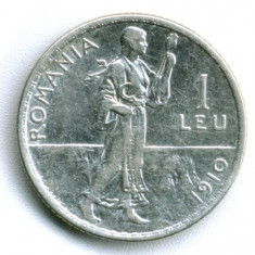 1LEU 1910 CU MUCHIA ROTUNDA ARGINT STARE EXCELENTA - Moneda Romania