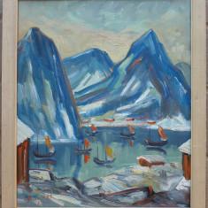 Peisaj marin cu barci - semnat  L.Henning '54