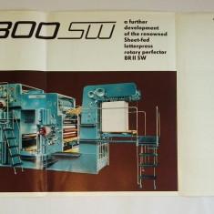 Pliant / reclama romaneasca Masina de tiparit Victoria 1300 SW - Poligraph Export , anii ' 60 (in limba engleza)