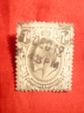 Timbru 7 Pence gri 1910 ,Eduard VII ,Anglia , stamp.