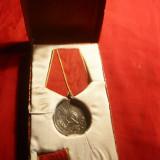 Medalia Muncii RPR, metal alb, cu bareta, in cutie originala - Medalii Romania
