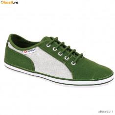 37_Tenisi SUPERGA originali_din panza_verde_adidasi dama_in cutia originala, 37, Verde, Textil