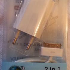 Incarcator iPhone 3GS/4G/4GS 2 in 1 priza si cablu de date