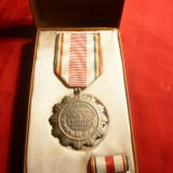Medalie 25 Ani de la Eliberare 1969, cu bareta, in cutie originala - Medalii Romania