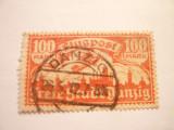 Timbru 100 M rosu Posta Aeriana 1923 Danzig ,stampilat