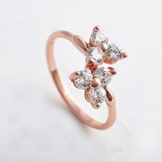 Inel Aur filat 9k cristale zirconiu, marime 9(US). cod CF27 - Inel placate cu aur