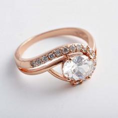 Inel Aur filat 9k cristale zirconiu, marime 7(US). cod CF24 - Inel placate cu aur Swarovski