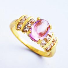 Inel cu Opal si cristale zirconiu, dublu placat aur 18K marime 7(US). cod CF28 - Inel placate cu aur