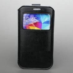 Husa pouch S-VIEW tip saculet + folie protectie ecran pentru Samsung Galaxy S5 i9600 G900 piele ecologica, culoare: NEGRU - Husa Telefon