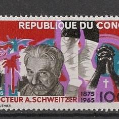 Congo (Brazzaville).1966 Albert Schweitzer-medic PREMIUL NOBEL MC.139 - Timbre straine