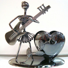 356-16 Suport pix cu inima - Figurina tehno metal - 15x15x8 cm colectie hand made