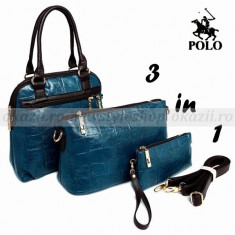 POLO 3 in 1 - geanta de dama din piele - Geanta Dama Polo Sport, Geanta umar un maner, Albastru, Crocodil, Medie