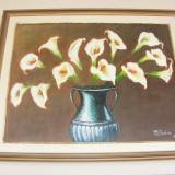 Tablou cale, ulei pe panza, foarte bine realizat - Pictor roman, Flori, Realism