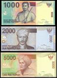 INDONEZIA █ SET █ 1000+2000+5000 Rupiah █ 2009 █ UNC █ necirculata