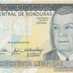 HONDURAS █ bancnota █ 50 Lempiras █ 2004 █ P-94a █ UNC █ necirculata