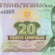 HONDURAS █ bancnota █ 20 Lempiras █ 2008 █ P-95 █ POLYMER █ UNC █ necirculata