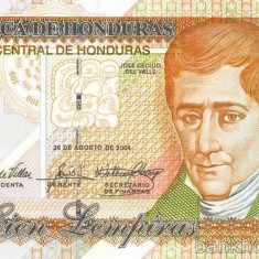 HONDURAS █ bancnota █ 100 Lempiras █ 2004 █ P-77g █ UNC █ necirculata