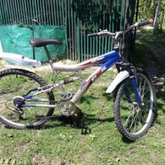 Bicicleta Mountain Bike DHS 26, 18 inch, Numar viteze: 21, Alb-Albastru, V-brake