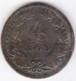 Ungaria,Austria 4 kreuzer 1860 B Kormoczbanya-Kremnitz,cotatia ridicata incepe la 20 euro