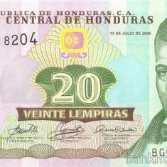 HONDURAS █ bancnota █ 20 Lempiras █ 2006 █ P-93b █ UNC █ necirculata