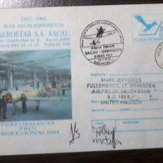 ROMANIA - BACAU 1993. PRIM ZBOR BACAU-GRANSDEN. PLIC OCAZIONAL MNH (PB20)