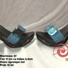 Papuci comozi, sic si de efect! Super Okazie! - Papuci dama, Culoare: Albastru, Marime: 37