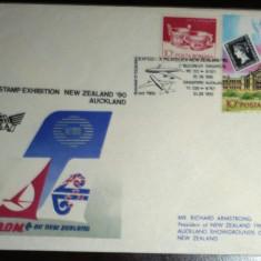 ROMANIA - EXPOZITIA FILATELICA NEW ZEALAND 1990. PLIC OCAZIONAL MNH (PB30)