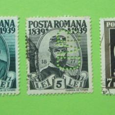 ROMANIA 1939 / TREI VALORI PERFIN BVD / CENTENARUL NASTERI LUI CAROL I - Timbre Romania, Stampilat