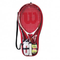 SET RACHETA WILSON CU 2 MINGI, BIDON DE APA SI HUSA - Racheta tenis de camp