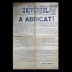 Editie speciala(a treia) Universul, 6 septembrie, 1940-abdicarea regelui Carol al II-lea; articol anticarlist al lui Stelian Popescu - Ziar
