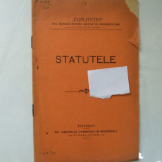 Statute Societatea romana pentru ajutor de inmormantare Egalitatea Bucuresti 1911 - Carte veche