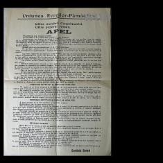 Uniunea Evreilor Pamanteni face apel catre Parlament si poporul roman, pentru impamantenirea evreilor romani-apelul dateaza, aprox., din 1922 - Afis
