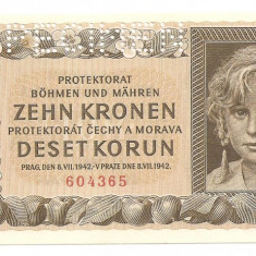 BOHEMIA BOEMIA SI MORAVIA 10 COROANE KORUN 1942 UNC SPECIMEN - CEHOSLOVACIA SUB OCUPATIE GERMANA