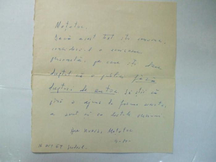 Scriosare Geo Bogza catre B. Elvin 16 octombrie 1969