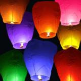 Lampioane zburatoare sky lantern  10 buc/set, culori alb, galben, roz, orange, mov,bleo, rosu, vernil