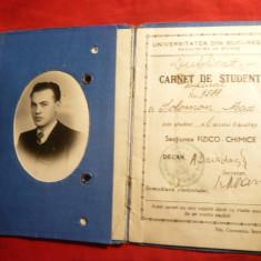 Carnet Student 1938 -Universitatea Bucuresti -Facultatea de Stiinte - Diploma/Certificat