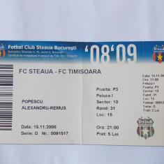 BILET MECI FOTBAL FC STEAUA - FC TIMISOARA .15.11.2008