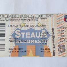 BILET MECI FORBAL , STEAUA - FC UNIREA URZICENI .2007-2008 .