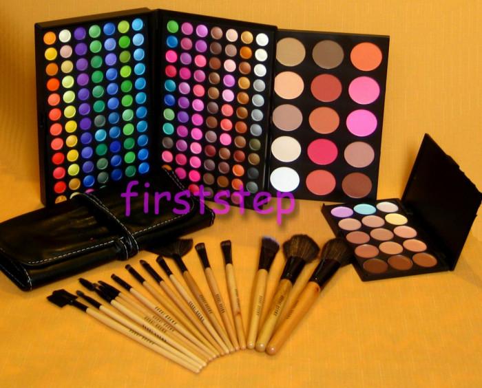 Trusa machiaj 183 culori  + set 15 pensule make up  +  fond de ten corectoare