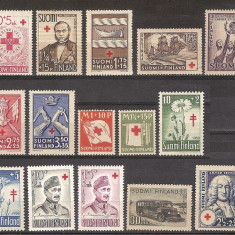 Lot Finlanda, anii '30-'60, Crucea Rosie, nestampilate, MNH**, Europa, Medical