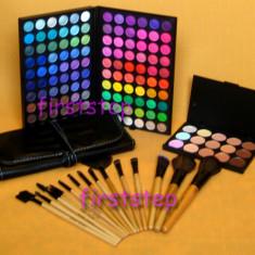 Trusa machiaj profesionala 120 culori MAC + set 15 pensule machiaj make up Bobbi Brown par natural + fond de ten concealer  paleta  fard farduri, Mac Cosmetics