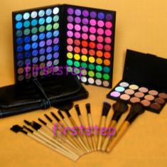 Trusa machiaj Mac Cosmetics profesionala 120 culori MAC + set 15 pensule machiaj make up Bobbi Brown par natural + fond de ten concealer paleta fard farduri